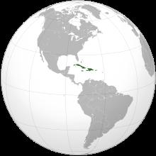 Lage der Karibik auf einer Weltkarte