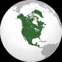 Lage Nord- und Mittelamerikas auf einer Weltkarte