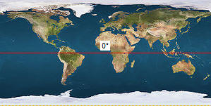 Weltkarte mit Äquatorlinie