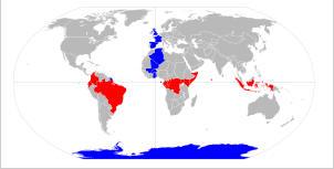 Weltkarte mit O Meridian und Äquator