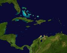 Satellitenaufnahme der Karibik
