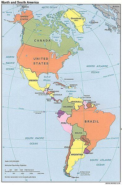 Staatenkarte des Doppelkontinents Amerika