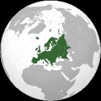Lage Europas auf einer Weltkarte