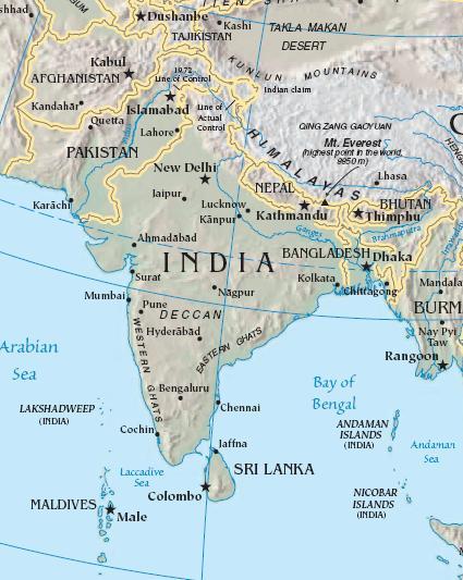 Südasien Karte.Südasien Lexas Länderinformationen