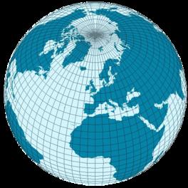 Landhalbkugel vom Nordpol aus(53 % Wasser; 47 % Land)
