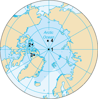 Karte der verschiedenen Nordpole