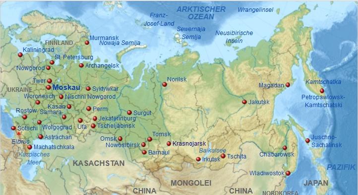 Karte russlands mit den wichtigsten städten