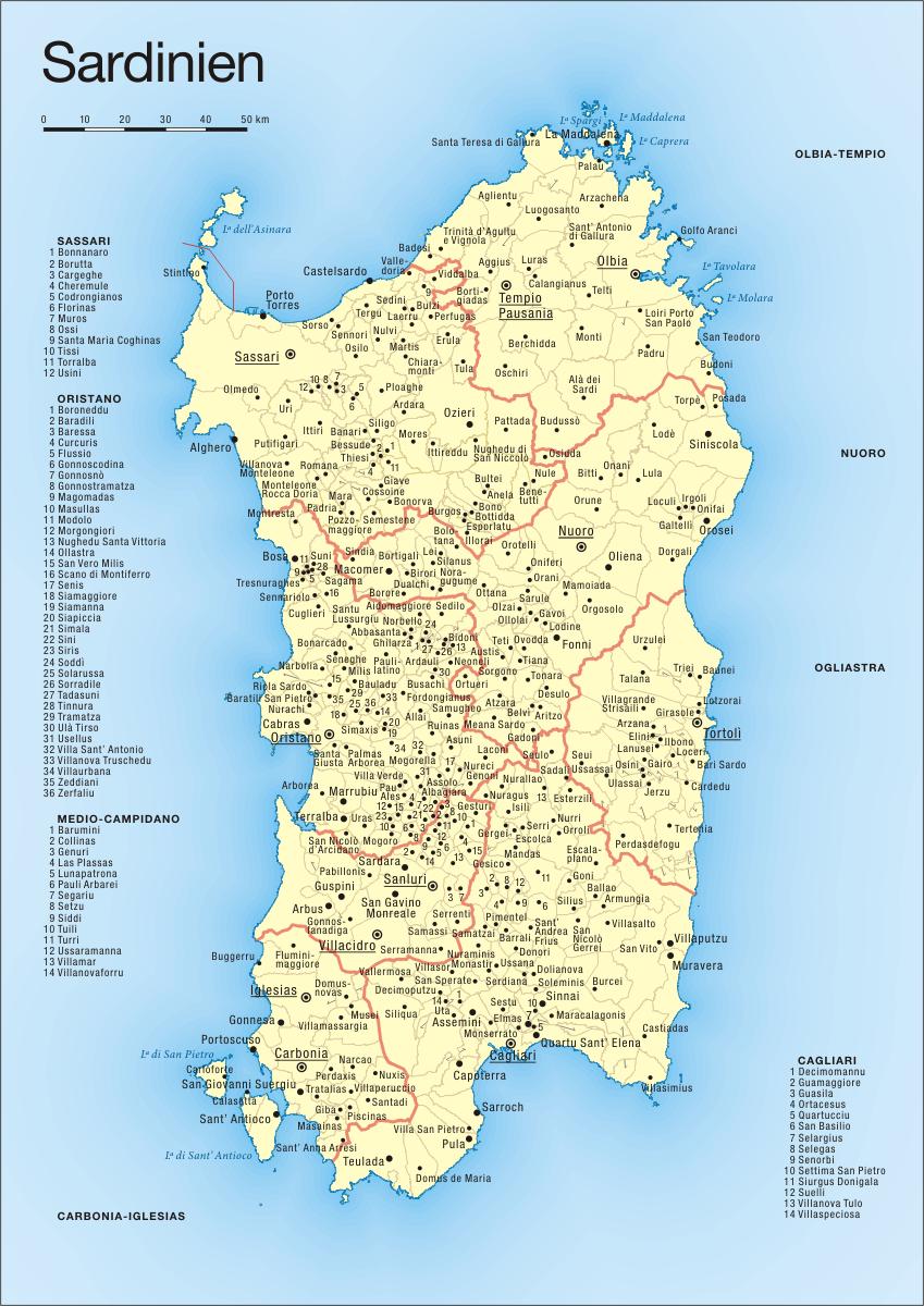 Karte Sardinien Süden.England Das Vereinigte Königreich Großbritannien Und Nordirland