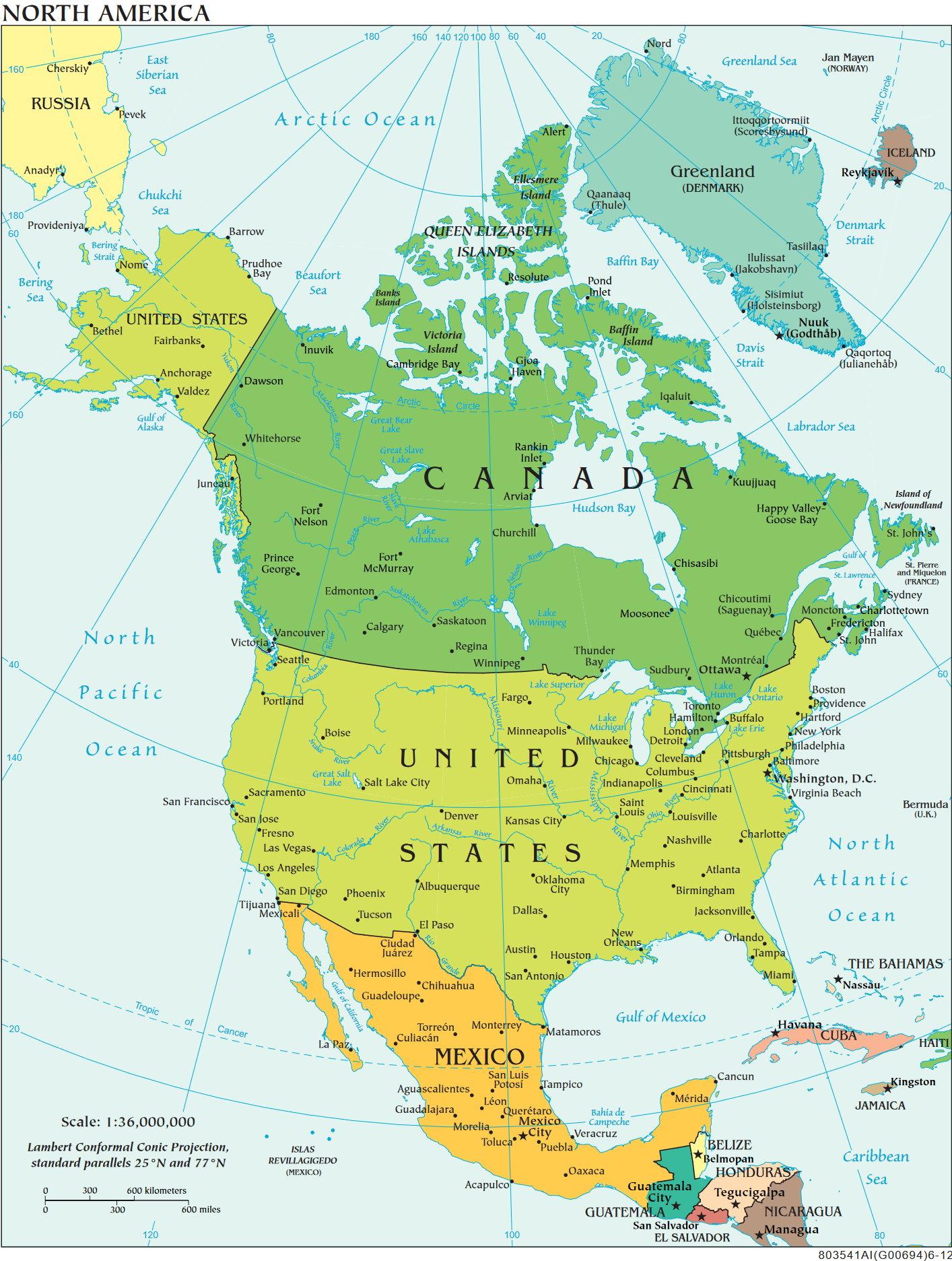 Die Regionale Und Politische Unterteilung Nordamerikas