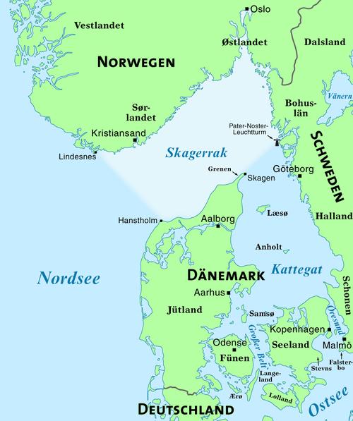 Das Skagerrak Teil Der Nordsee Zwischen Jütland Norwegen Und Schweden